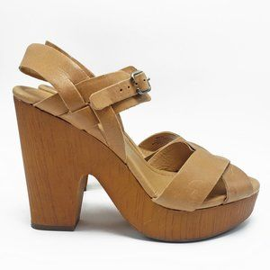 Lucky Brand Nova Wood Platform Sandals Open Toe